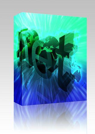 url: Software package box Dot net internet web url international worldwide illustration