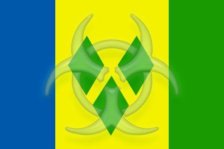 grenadines: Flag of Saint Vincent and Grenadines, national country symbol illustration health warning alert