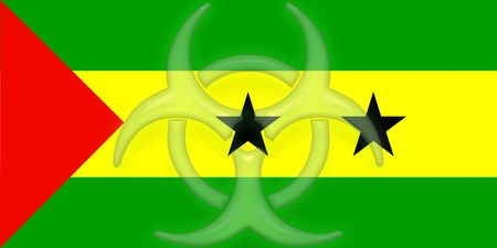 tome: Flag of Sao Tome and Principe, national country symbol illustration health warning alert