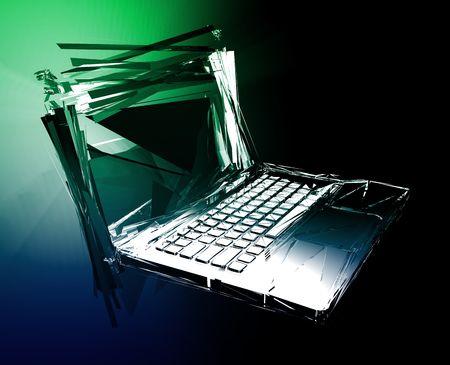 Computer technology failure with broken notebook concept illustration Stock Illustration - 6301933
