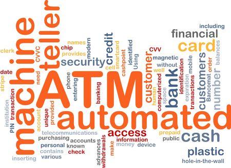 bancomat: Word cloud concept illustration ATM Automated Teller Machine