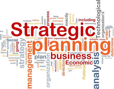 planeaci�n estrategica: Ilustraci�n de concepto de nube de Word de la planificaci�n estrat�gica Foto de archivo