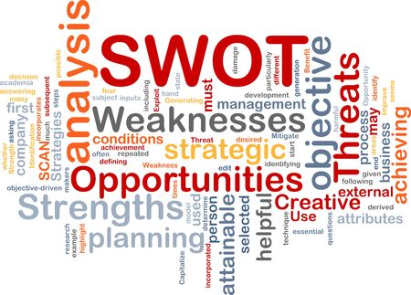 strengths: Word cloud concept illustration of SWOT strengths weaknesses Stock Photo