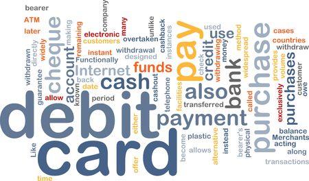 transferred: Word cloud concept illustration of debit card