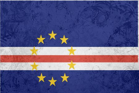verde: Flag of Cape Verde, national country symbol illustration rough grunge texture Stock Photo