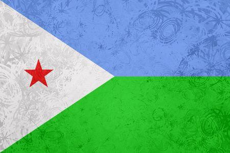 djibouti: Flag of Djibouti , national country symbol illustration rough grunge texture