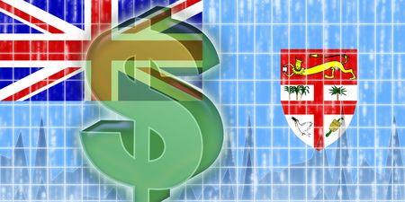 fiji: Flag of Fiji, national country symbol illustration finance economy dollar