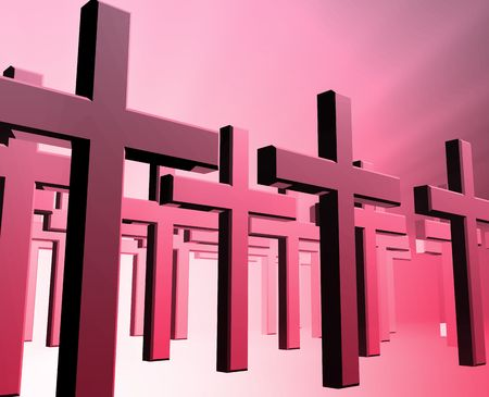 church group: Many christian church crosses in group,  religious illustration