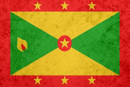 grenada: Flag of Grenada, national country symbol illustration rough grunge texture