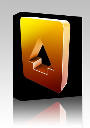 Software package box Up navigation icon glossy button, square shape photo
