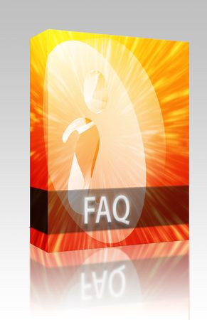 technlogy: Software package box FAQ Information frequently asked questions help support illustration