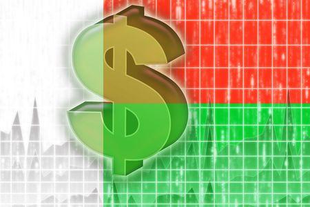 Flag of Madagascar, national country symbol illustration finance economy dollar illustration