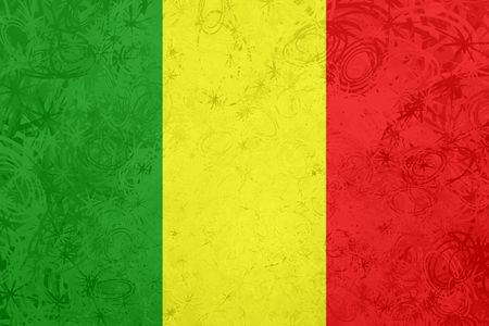 mali: Flag of Mali, national country symbol illustration rough grunge texture Stock Photo