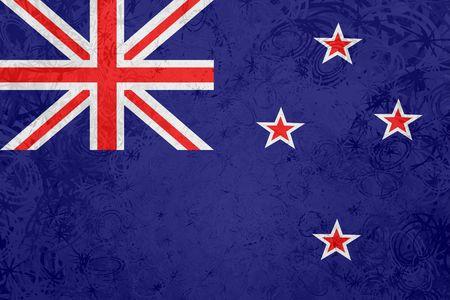 Flag of New Zealand, national country symbol illustration rough grunge texture illustration