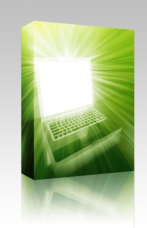 Software package box Notebook laptop computer illustration glowing bright modern technology illustration