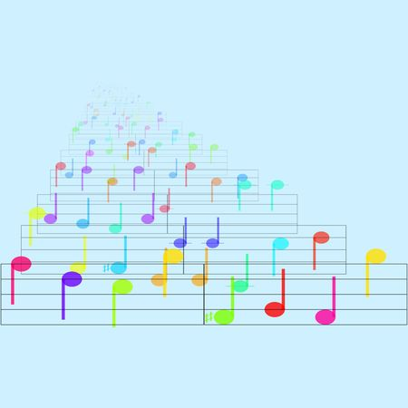 Colorful notes sheet music cheerful musical concept background illustration Stock Illustration - 6316400