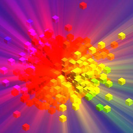 disorganized: Colorful blocks cubes of data concept information illustation glowing light Stock Photo