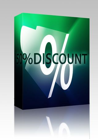 retailing: Software package box Fifty percent discount, retail sales promotion announcement illustration