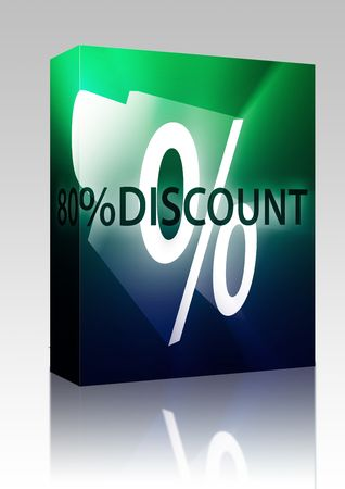 eighty: Software package box Eighty Percent discount, retail sales promotion announcement illustration