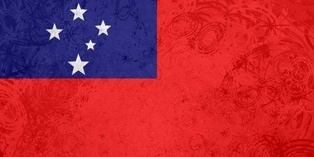 samoa: Flag of Samoa, national country symbol illustration rough grunge texture