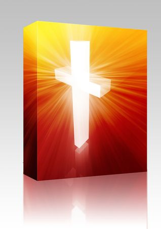 veneration: Software package box Christian church cross, religious spiritual symbol illustration Stock Photo