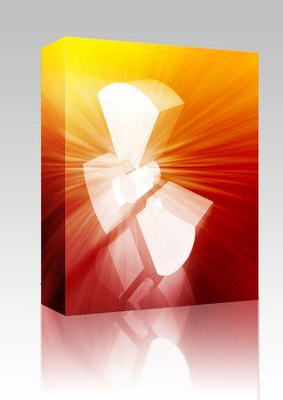 radium: Software package box Illustration of radiation hazard warning alert symbol Stock Photo