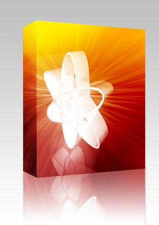 Software package box Atomic nuclear symbol scientific illustration of orbiting atom
