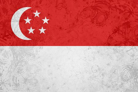 Flag of Singapore, national country symbol illustration rough grunge texture