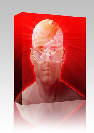 envisioning: Software package box Man thinking about global international issues, floating over head