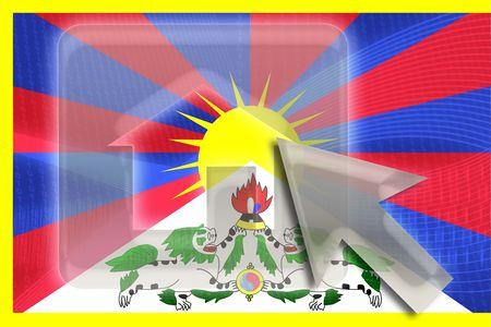 tibet: Flag of Tibet, national symbol illustration clipart home website internet Stock Photo