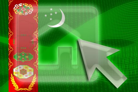 Flag of Turkmenistan, national country symbol illustration home website internet Stock Illustration - 6316515