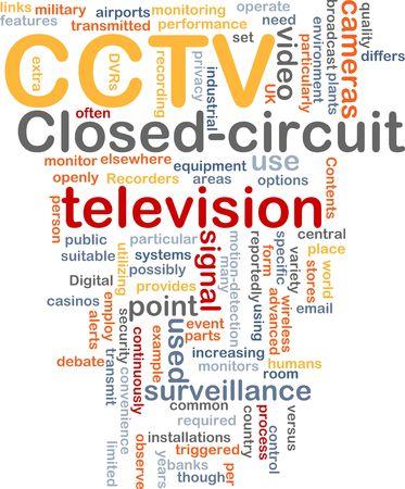 closed circuit television: Word cloud concept illustration of CCTV surveillance cameras