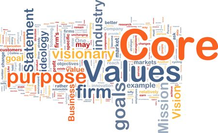 n�cleo: Ilustraci�n de wordcloud concepto de fondo de los valores fundamentales de negocio