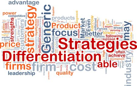 Background concept wordcloud illustration of business differentiation strategies Stock Illustration - 6314554