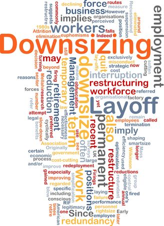 organisational: Word cloud concept illustration of downsizing restructuring Stock Photo