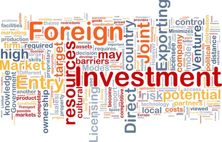 direct: Background concept wordcloud illustration of business foreign investment