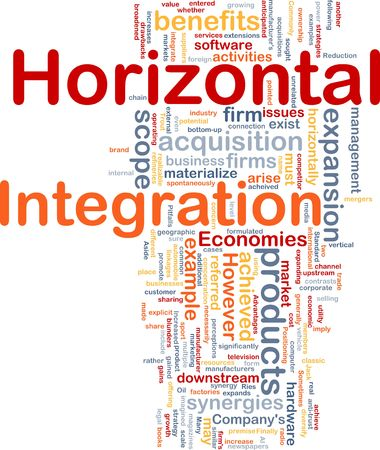 synergies: Background concept wordcloud illustration of business horizontal integration Stock Photo