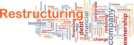 Word cloud concept illustration of company restructuring illustration