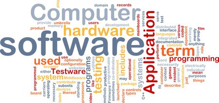 intention: Word cloud concept illustration of computer software