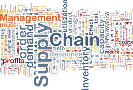 vendors: Background concept wordcloud illustration of business supply chain Stock Photo