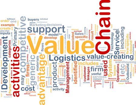 valor: Ilustraci�n de wordcloud de concepto de fondo de la cadena de valor de negocio