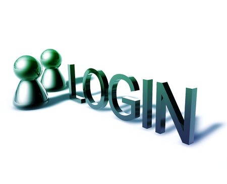 Login online word graphic, with stylized people icons photo