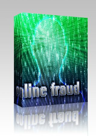 organized crime: Software package box Cyber crime online fraud identity theft illustration