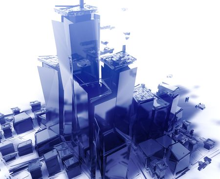 high rise building: Abstract generic city with exploding breaking apart illustration