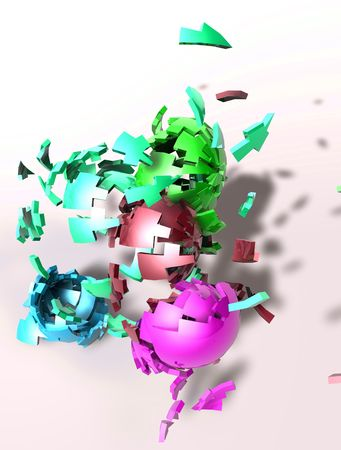 detonate: Abstract background illustration of shattered colorful geometric shapes