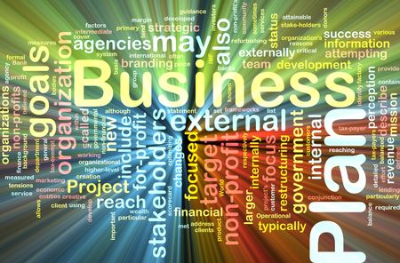 Word cloud concept illustration of business plan glowing light effect Stock Illustration - 6340012