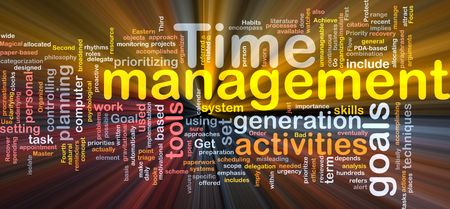 delegation: Word cloud concept illustration of time management glowing light effect