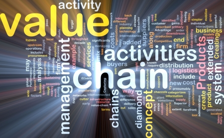 value: Word cloud concept illustration of value chain glowing light effect