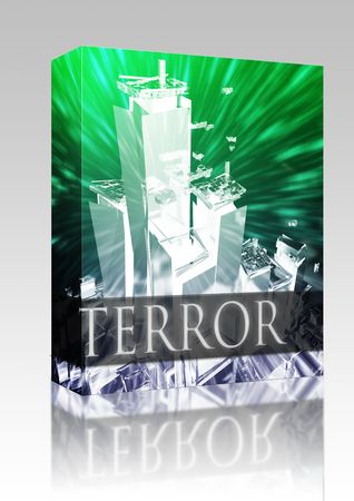 militant: Software package box Terrorist terror attack Al Queda terrorism bombing concept illustration