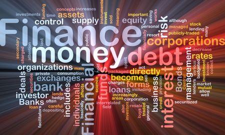 lending: Word cloud concept illustration of money finance glowing light effect